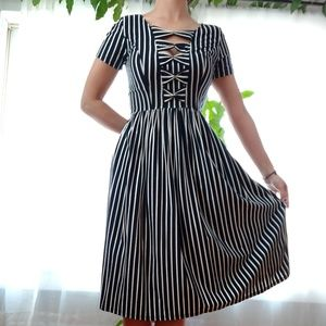 Vintage Style Pinup B&W Striped Jersey Dress